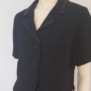 women's 1960's black skirt suit L crinkled acetate